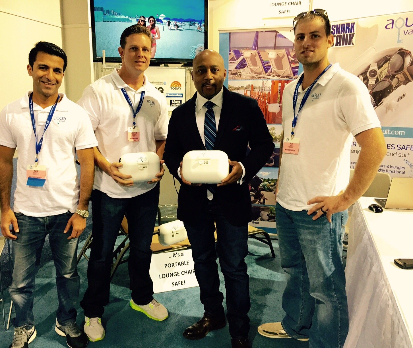 Avin Samtani (Far Left) with his Co-Founders and investor Daymond John
